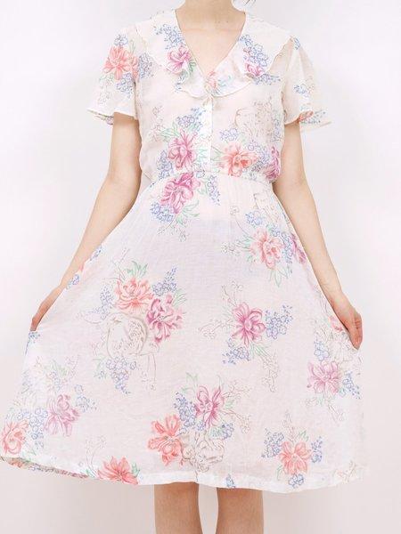 Vintage ruffle neck 70s floral dress - multi