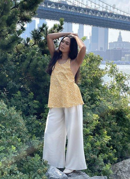 KAAREM Chi Thi Halter Elastic Low Back w/ Tie Top - Yellow Floral Print