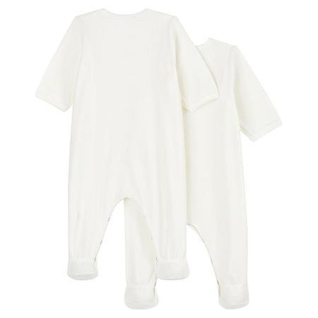 Kids Petit Bateau Baby Set Of Two Velour Pajamas With Feet - Cream