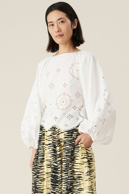 Ganni Broderie Anglaise Top - Bright White