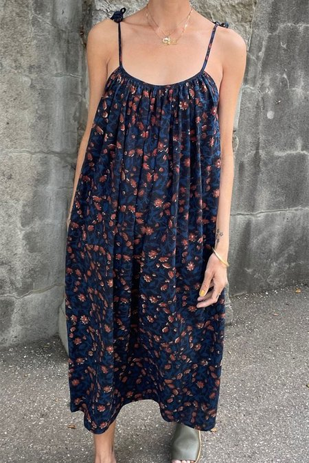 Two New York Dabu Floral Dress - Indigo/Red Clay