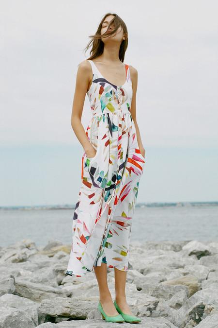 Mara Hoffman Placket Front Midi Dress