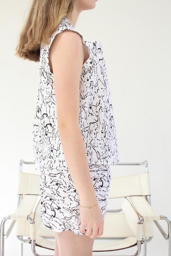 Lina Rennell Organic Cotton PJ Set White Post Print