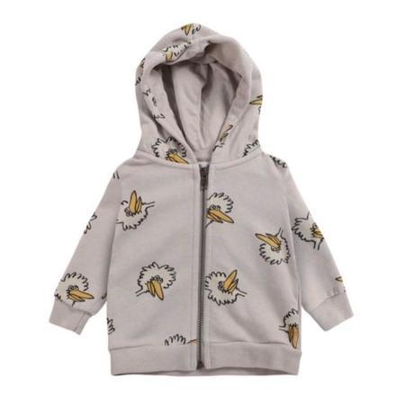 bobo choses birdie all over baby hoodie sweater - grey