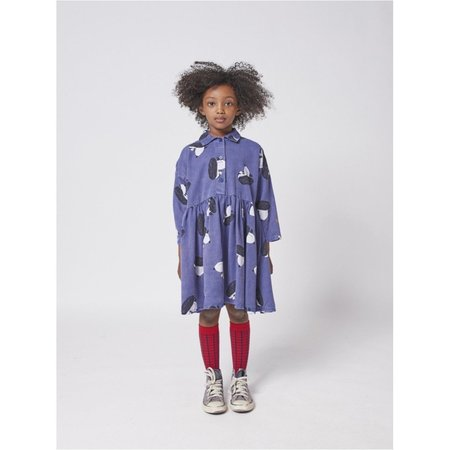 kids bobo choses doggie all over woven buttoned dress - royal blue