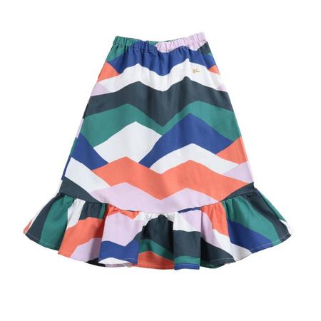 kids bobo choses block woven midi skirt - multi color