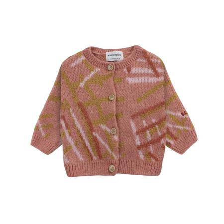 kids bobo choses scratch knitted baby cardigan - rose
