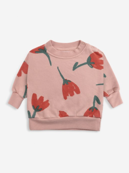 kids Bobo Choses Big Flowers Sweatshirt - pink