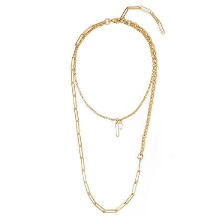 Joomi Lim Asymmetrical Long Double Chain w/ Crystal & Chain Link Charms