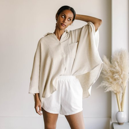 BAHHGOOSE Batwing Blouse - Wheat