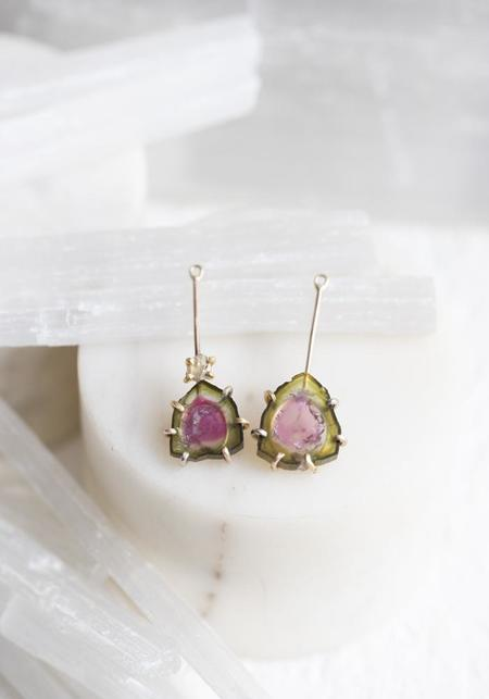 Variance Objects Watermelon Tourmaline and Rose Cut Diamond Drops - 14KT/18KT Gold