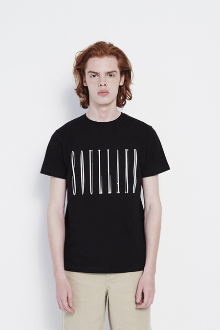 Soulland Barker T-Shirt with Print in Black
