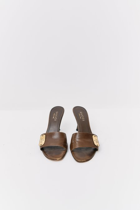 [Pre-Loved] Gucci Leather Heel - Brown