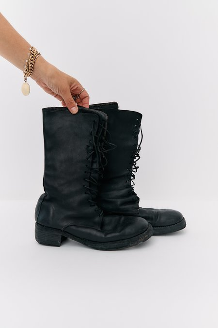 [Pre-Loved] Guidi Leather Mid-Calf Lace-Up Boots - Black