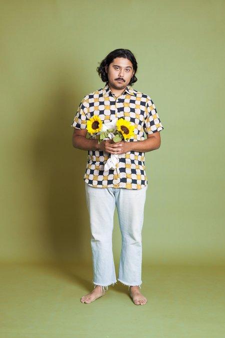 Hand Block Printed The Sheril Short Sleeve Shirt - Yellow/Black Batik Print
