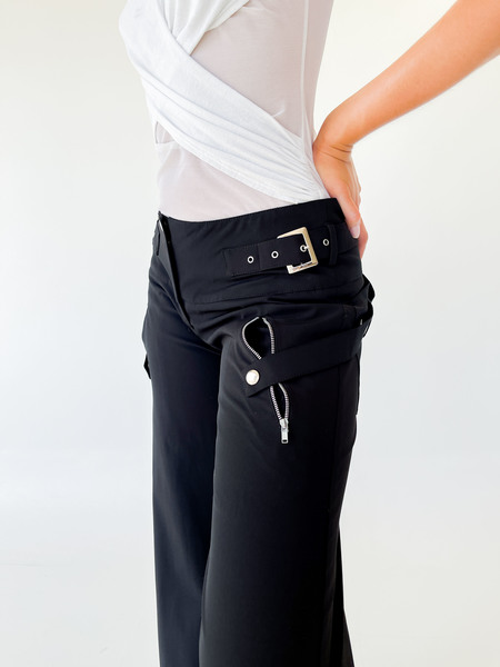 Vintage Wide Leg Zipper Pants - Black