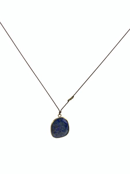 Margaret Solow Lapis Necklace - Brass