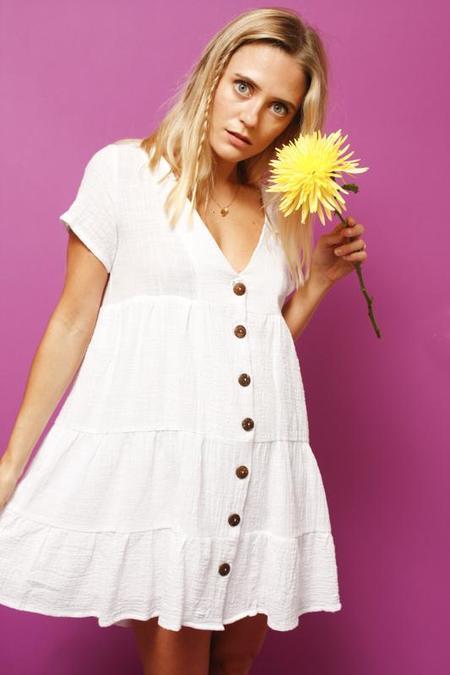 Olivaceous  SOLEIL BUTTON UP DRESS - white