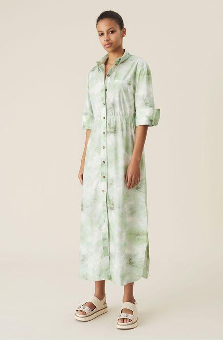 Ganni Cotton Poplin Maxi Dress - Green Watercolour