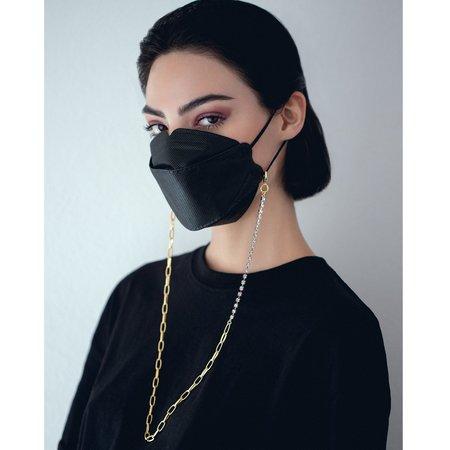 Joomi Lim Crystal & Chain Mask Holder Necklace -  20k Gold