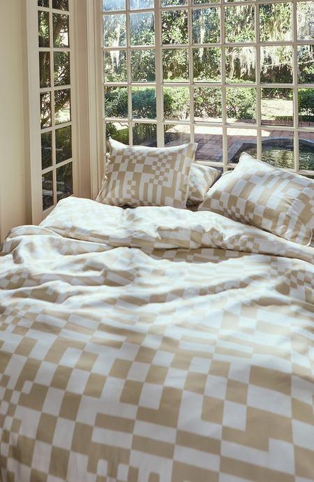 Dusen Dusen Check Duvet Set - beige/white