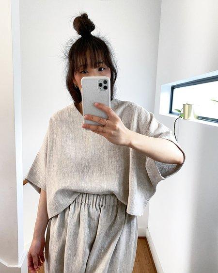 Lauren Winter Linen Caftan Top - Flax