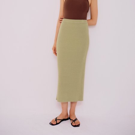 Mijeong Park Ribbed Knit Skirt - Light Green