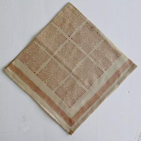 Nade Naturally Dyed Maze Block Printed Bandana -Tan/Terracotta