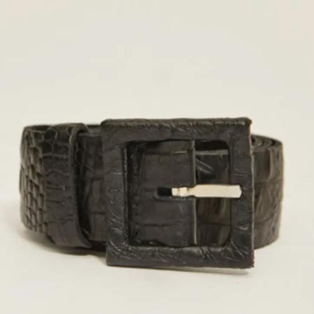 Rita Row Lucy Croco Leather Belt - Black