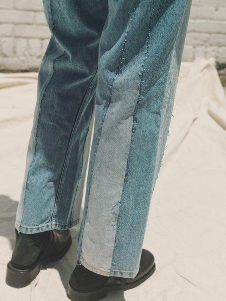 Marni Reconstructed Washed Flare Denim - indigo