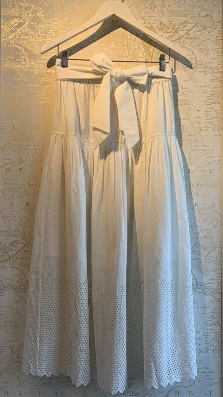 The Great. Eyelet Highland Skirt - White