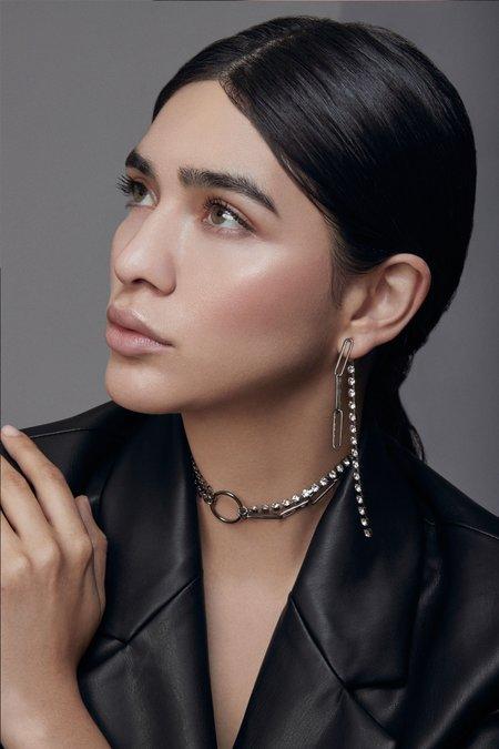 Joomi Lim Asymmetrical Chain, Hoop & Crystal Necklace - Ruthenium