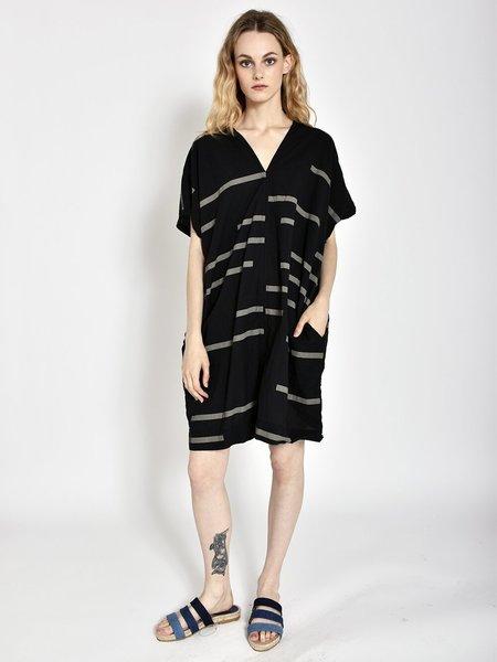 Uzi NYC Oversized V Dress - Broken Stripe Black