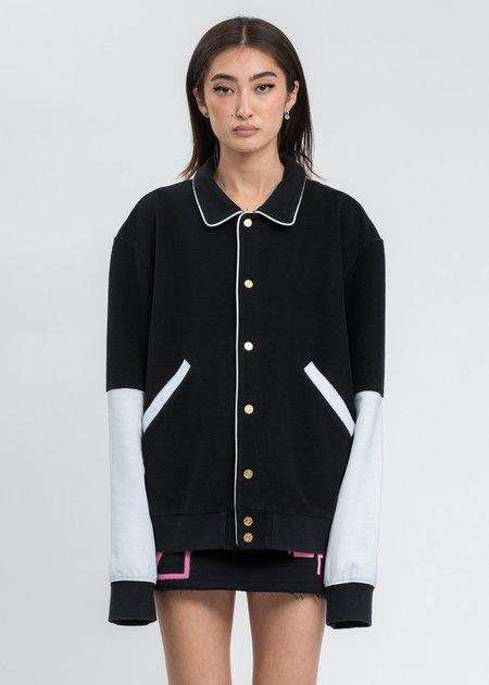 we11done Black Logo Print Varsity Jacket