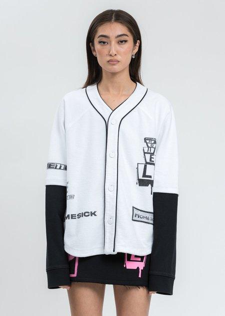 we11done White Baseball Jersey Long Sleeve Jacket