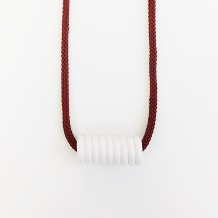 Aubrey Hornor Maroon Cord Coil Necklace