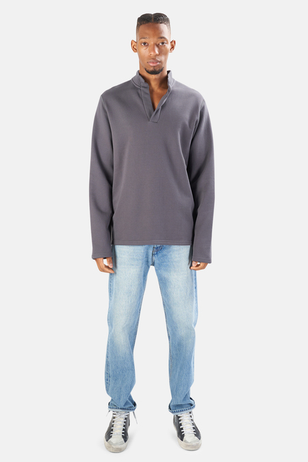 Blue&Cream Pop Collar Pullover Sweater - Ash