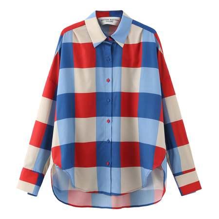 Matter Matters Secka Checked Loose Fit Capri Shirt - Red Multi