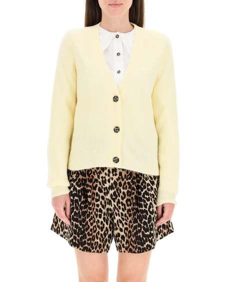 GANNI Wool Cardigan - yellow