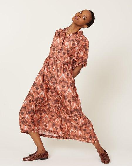 Raquel Allegra Dainty Collar Dress - Tangerine Tie Dye Lace