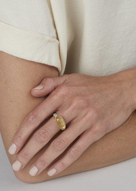 Heather Guidero Ellipse Rutilated Quartz Ring - Silver/Gold