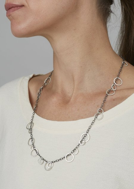Heather Guidero Sterling Silver Circle Bunches Necklace - Silver