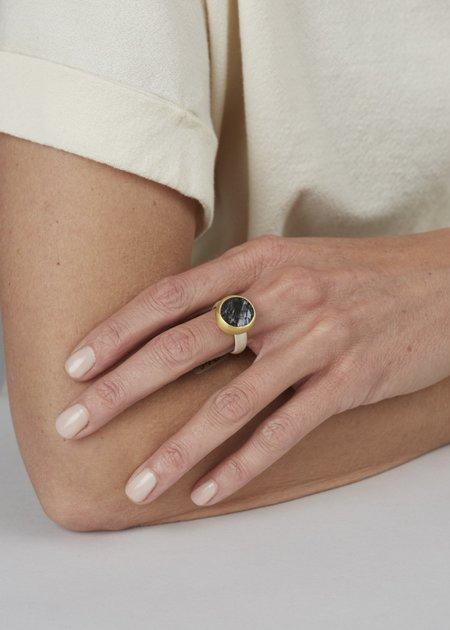 Heather Guidero Surface Cut Tourmaline Ring - Gold/Silver