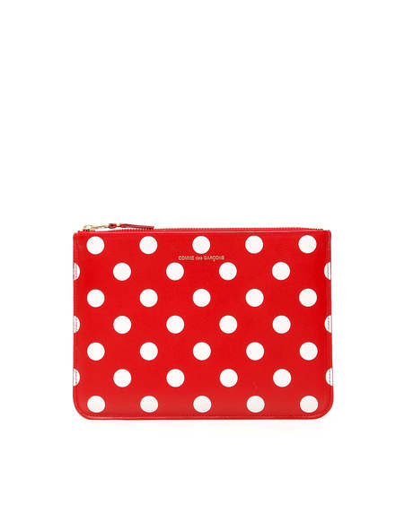 Comme des Garçons Leather Polka Dots Pouch Wallet - Red
