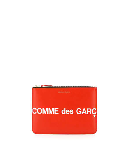 Comme des Garçons Logo Leather Pouch with Zip - Red