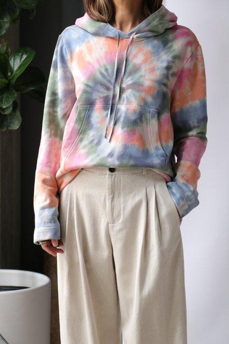 Raquel Allegra Crop Hoodie - Pastel Spiral Tie Dye