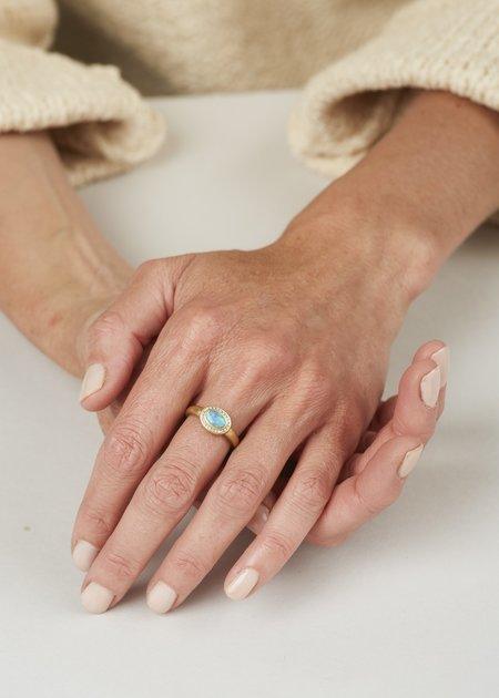 Tony Malmed Jewelry Oval Black Opal Diamonds Ring - Gold