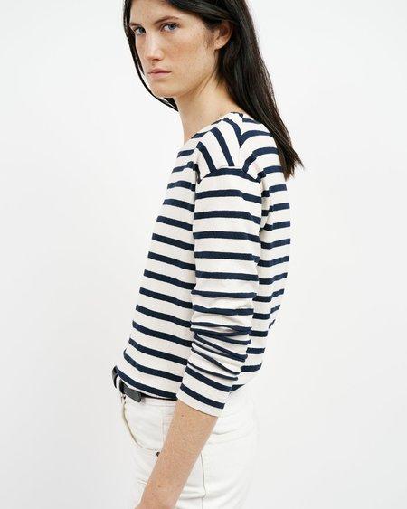 Nili Lotan Arlette Long Sleeve Shirt - Ivory/Navy Stripe