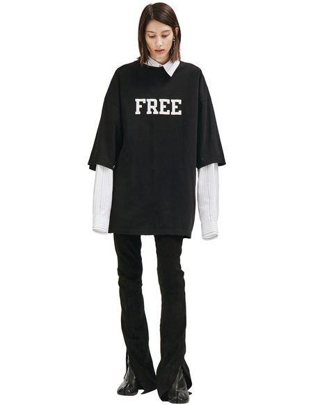 Balenciaga Embroidered Lettering T-shirt - black