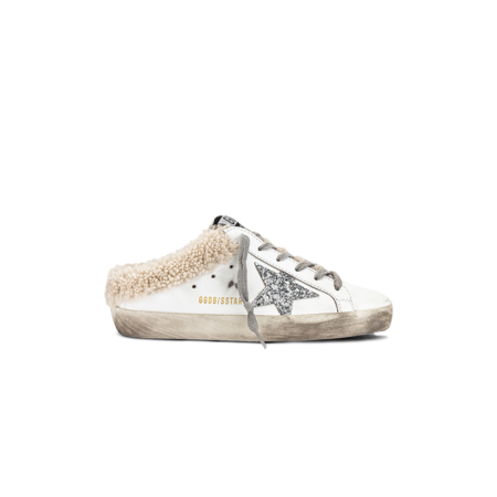 Golden Goose Super-Star Sabot Leather Upper Glitter Women GWF00110.F002306.10224 sneakers - White/Silver/Beige